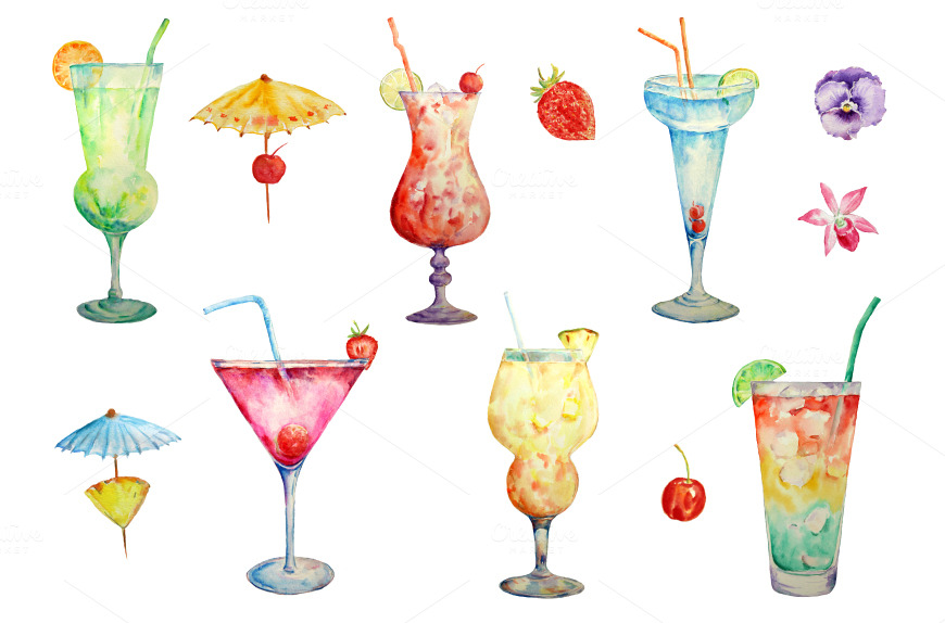 Hand Painted Watercolour Cocktails Illustrations On