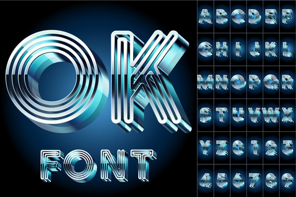 3D alphabet from metal letters. Blue - Objects