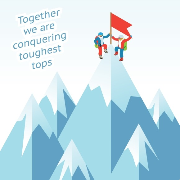 Synergy concept. Business mountain - Illustrations