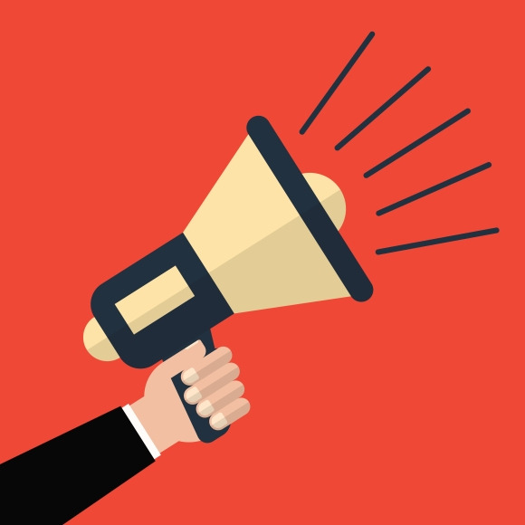 Hand holding a megaphone on a red background. Vector illustration a ...