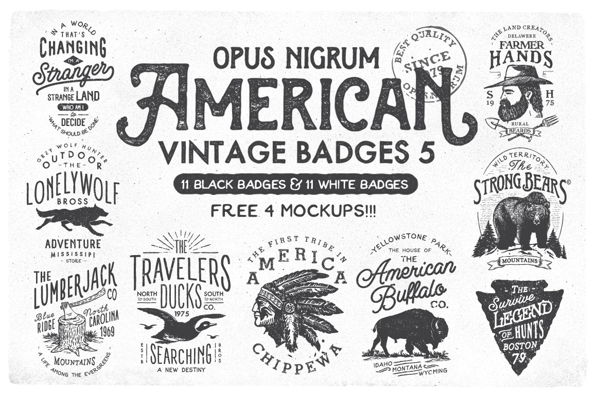 American Vintage Badges 5 Logo Templates On Creative Market