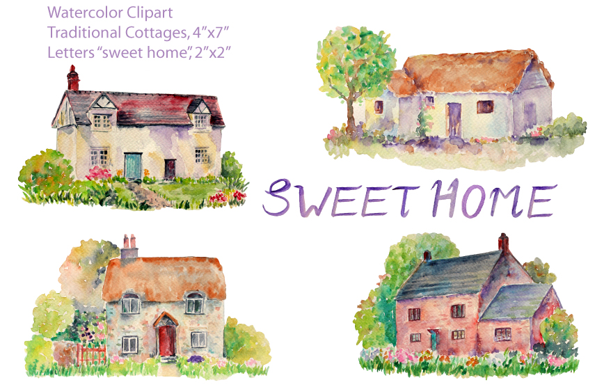 Watercolor Traditional Cottages Illustrations On