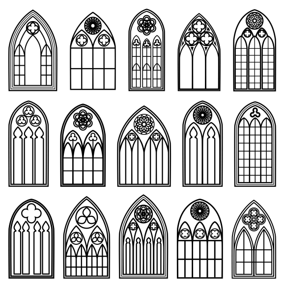 Gothic Window Silhouettes ~ Icons on Creative Market