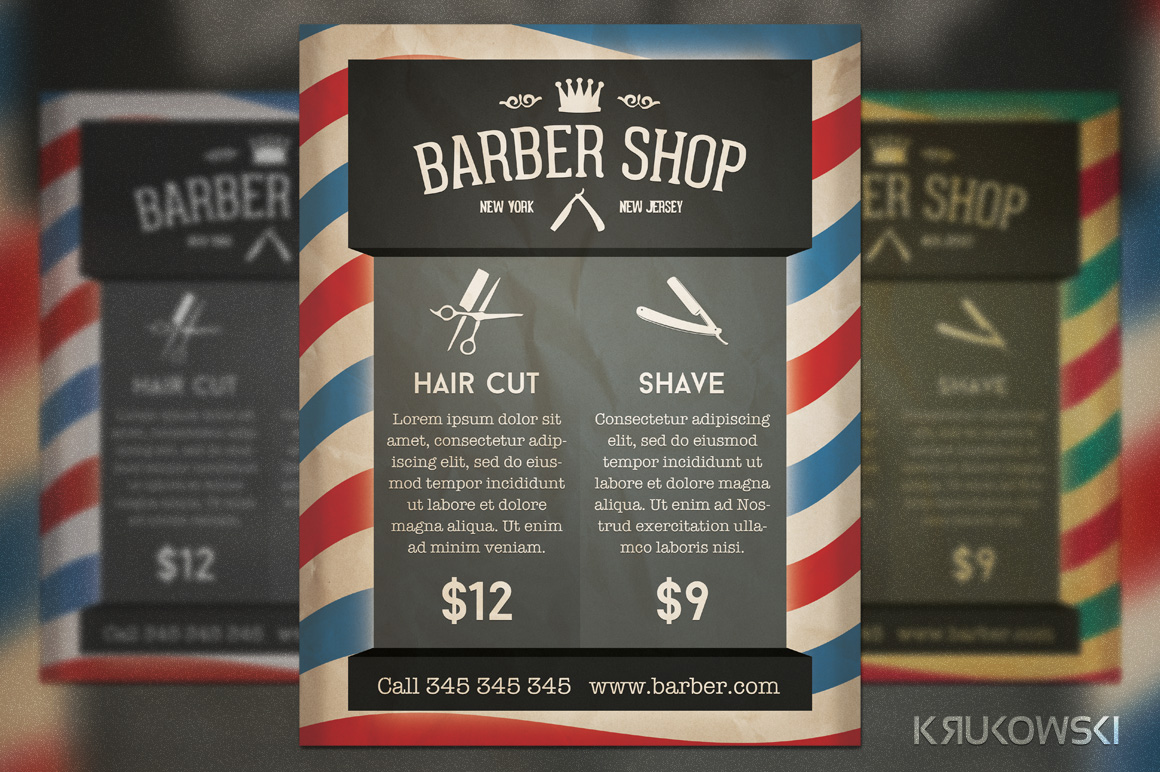 barber shop retro flyer flyer templates on creative market. Black Bedroom Furniture Sets. Home Design Ideas