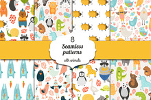 8 Seamless patterns with animals