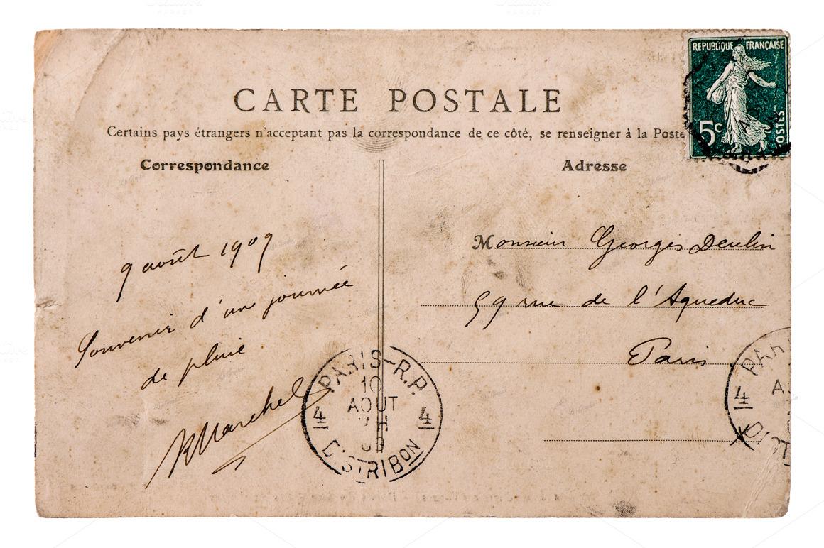 vintage french postcard objects on creative market. Black Bedroom Furniture Sets. Home Design Ideas