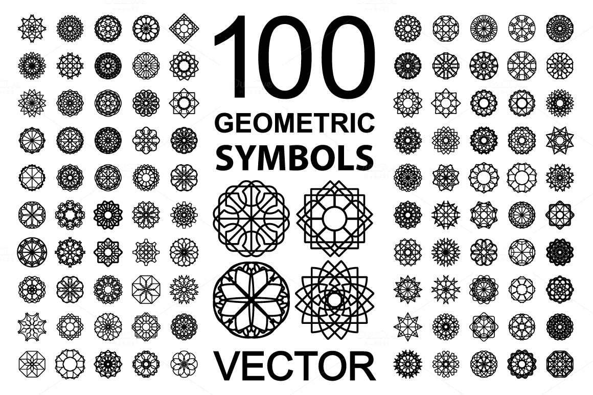 100 geometric symbols