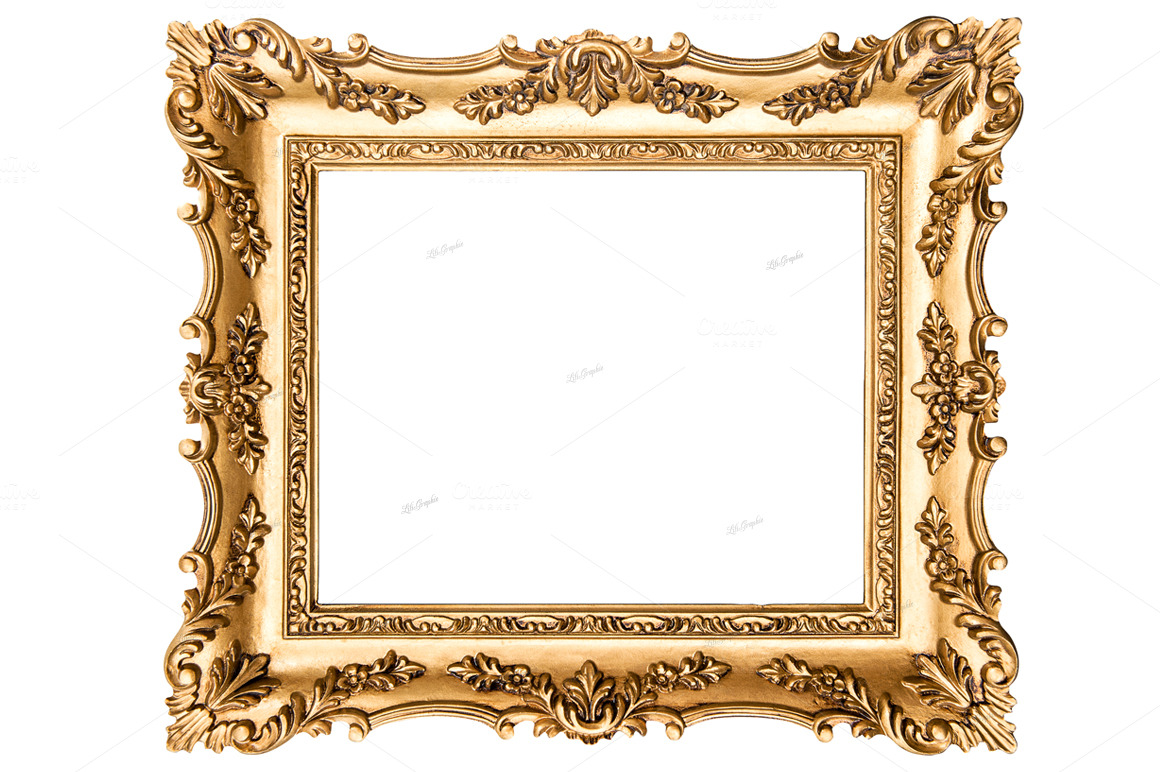 Vintage golden picture frame objects on creative market for Pictureframes net