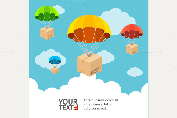 Vector. Hotair ballons card - Illustrations