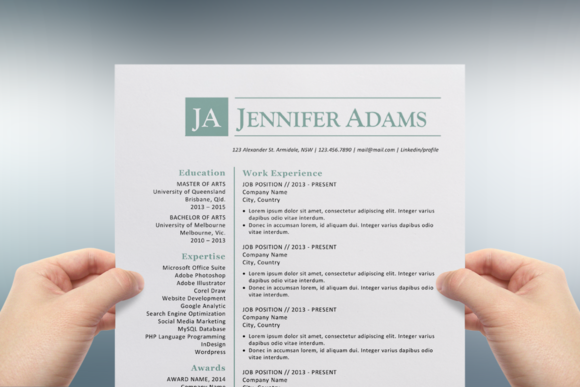 blue initials word resume template