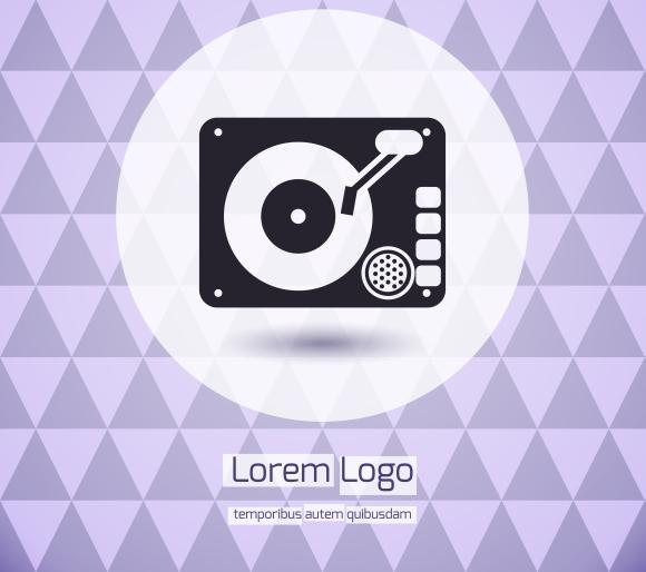 disk jockey vinyl turntable logo icons on creative market