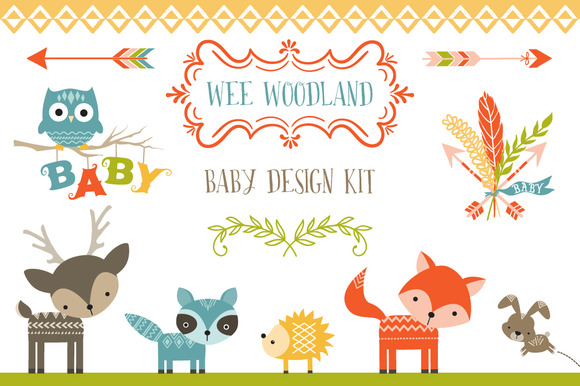 Wee Woodland Baby Design Kit Illustrations On Creative