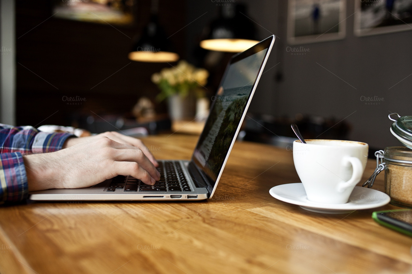 working on macbook pro in the cafe technology photos on creative market. Black Bedroom Furniture Sets. Home Design Ideas