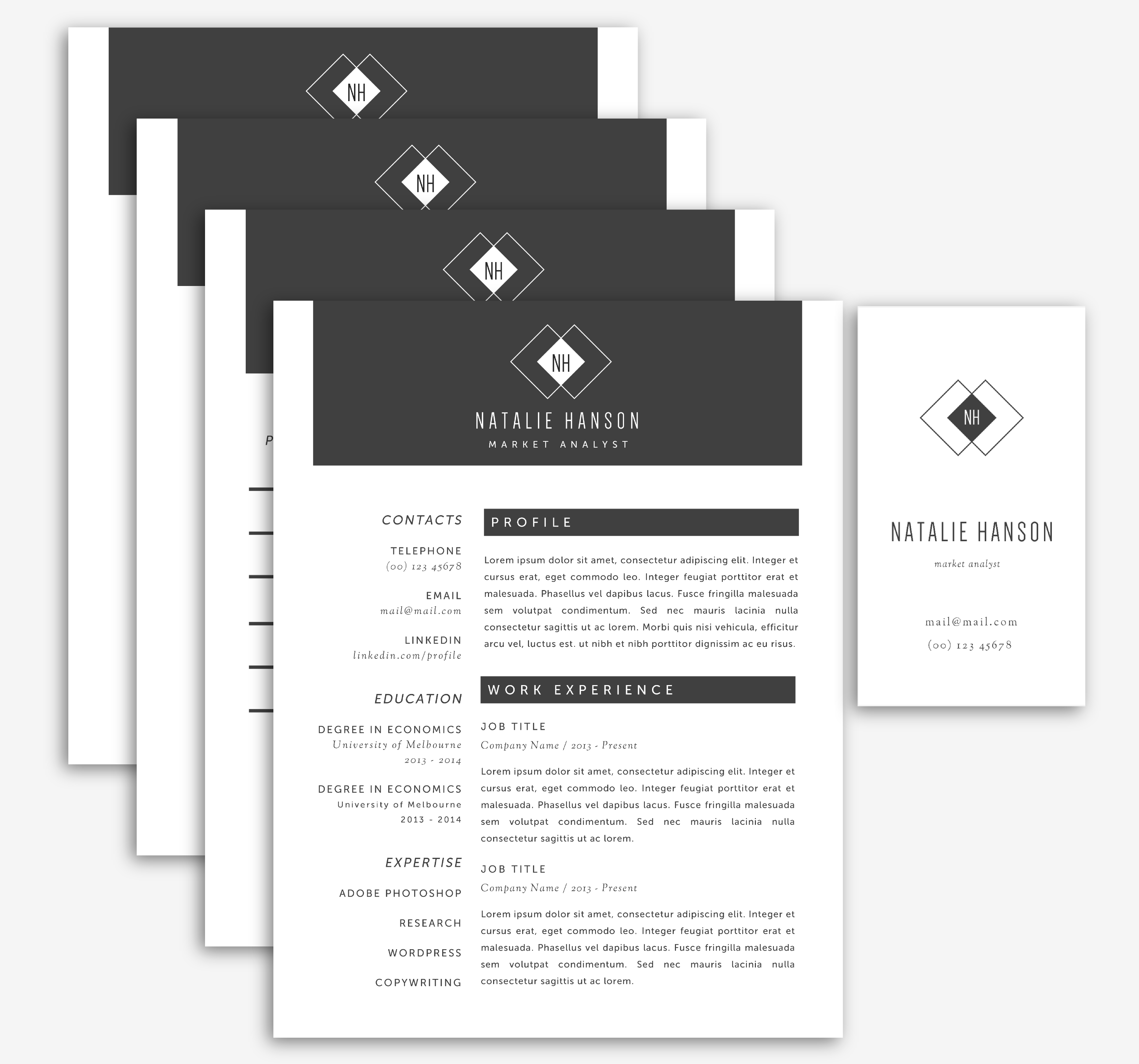 Business cards Timeless design  Office Templates