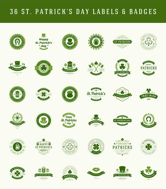 St. Patricks Day Labels and badges - Illustrations