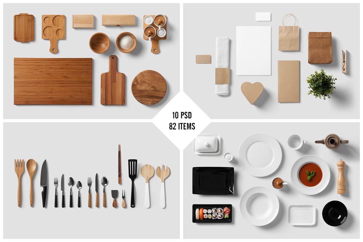 Restaurant food branding mock up product mockups on