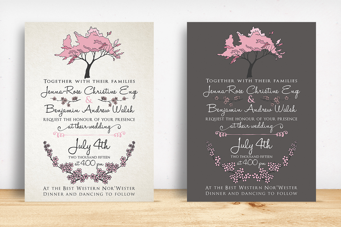 cherry blossom wedding suite invitation templates on creative market. Black Bedroom Furniture Sets. Home Design Ideas
