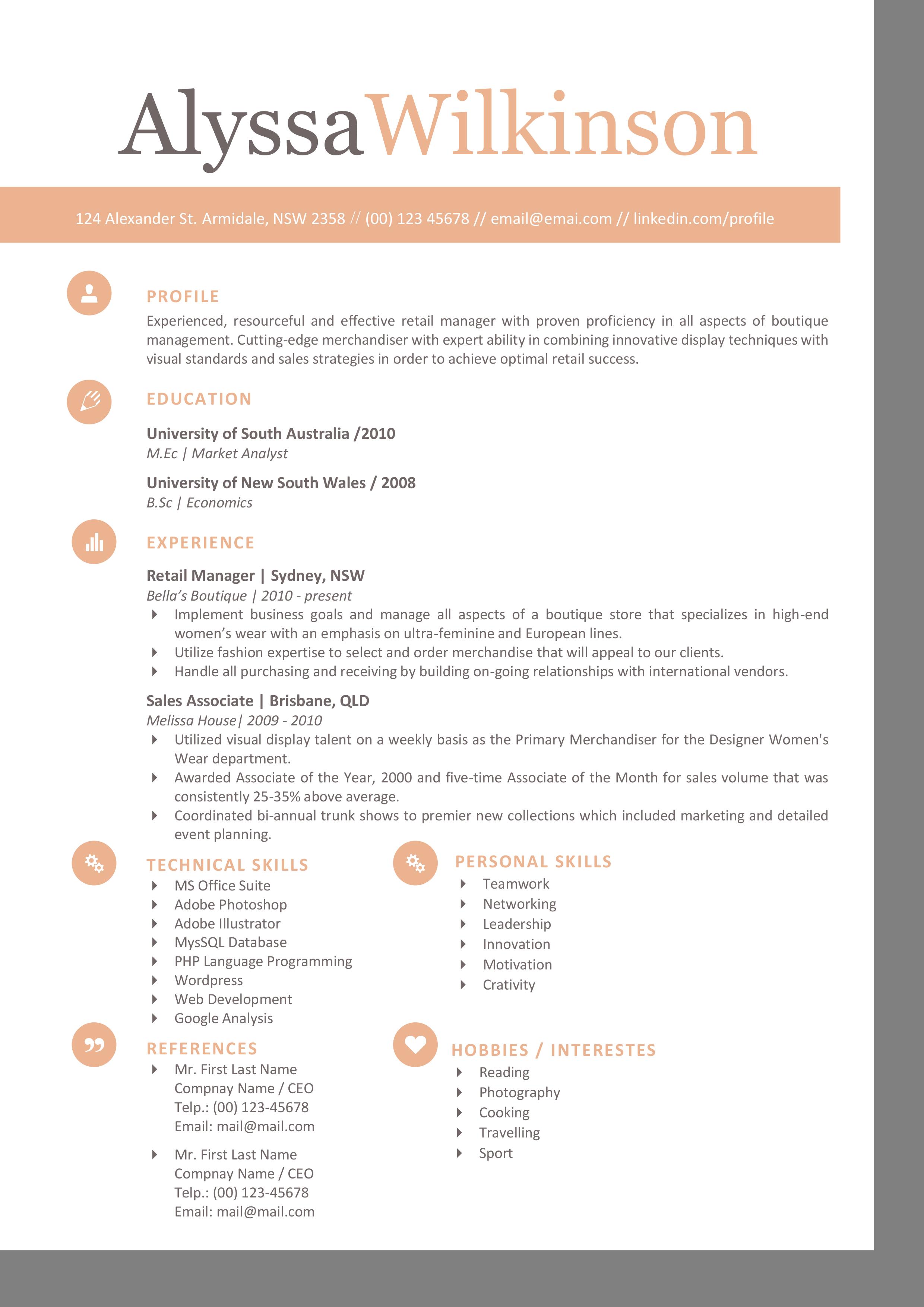 corner border modern resume