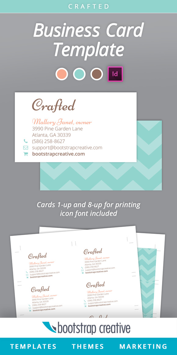 Business Card Template InDesign 8 up Business Card