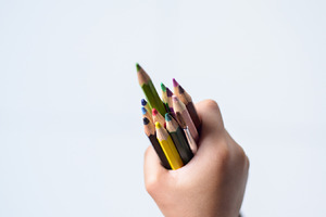 color pencil in the hand