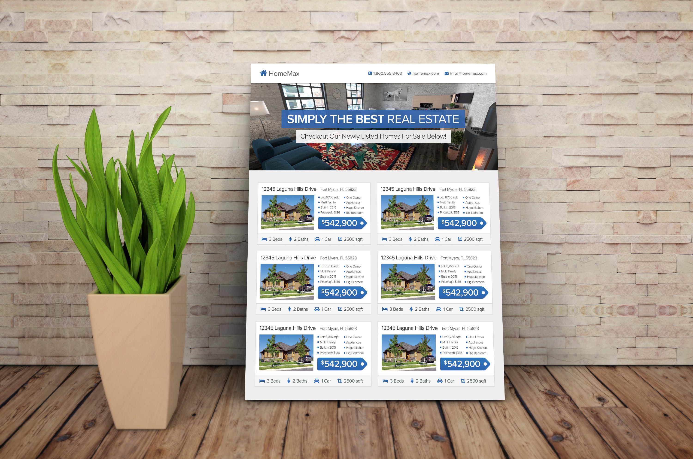 real estate agent flyer template flyer templates on creative market. Black Bedroom Furniture Sets. Home Design Ideas