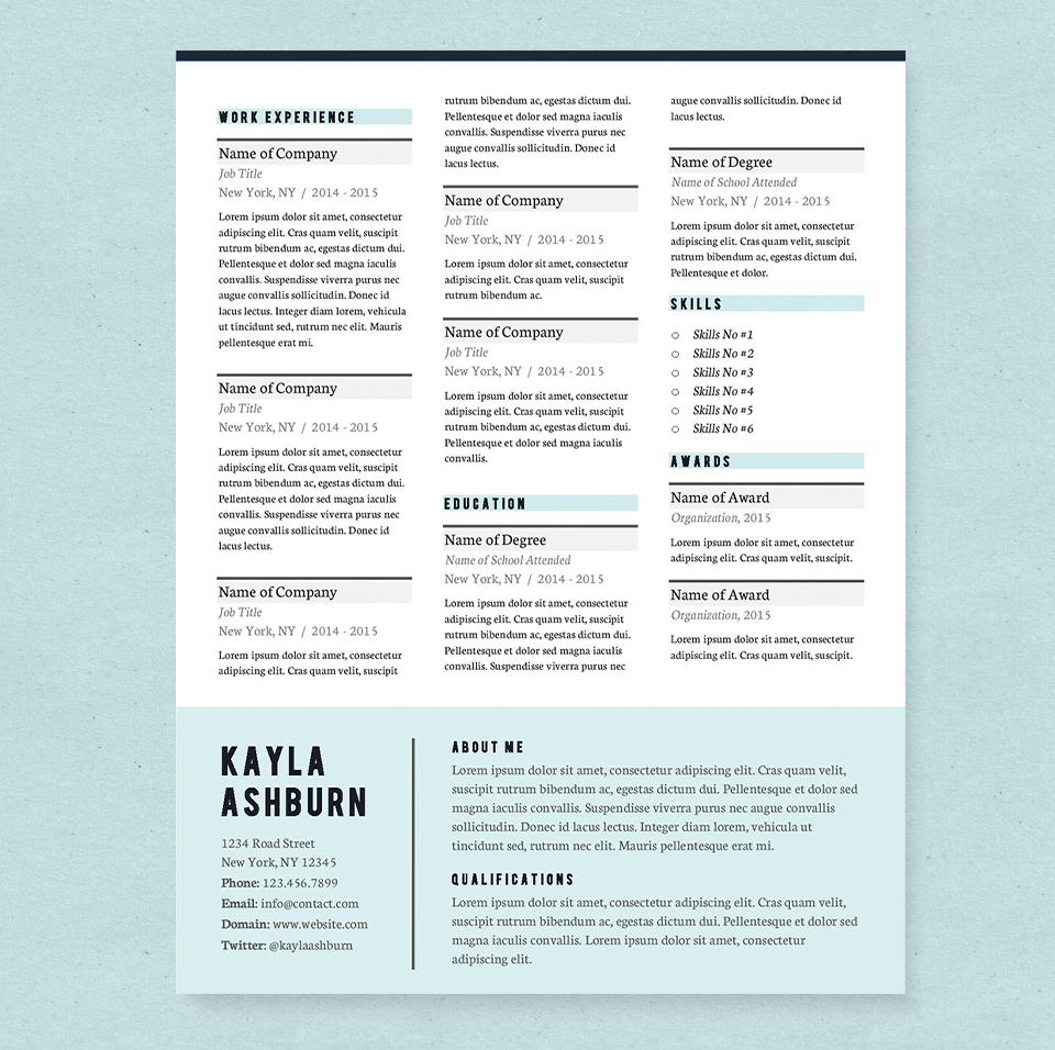 stylish blue resume template pkg