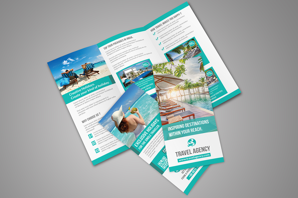 Travel tri fold brochure brochure templates on creative for Photoshop tri fold brochure template