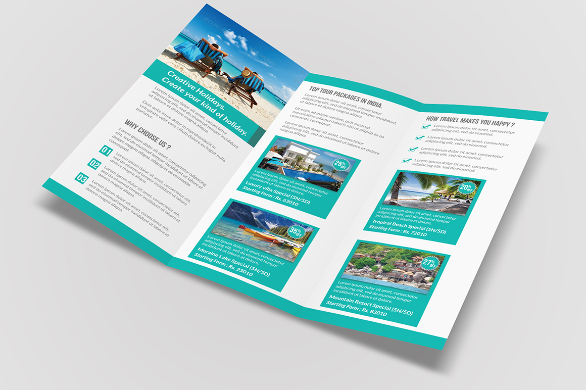 Travel tri fold brochure brochure templates on creative for Tri fold brochure psd template