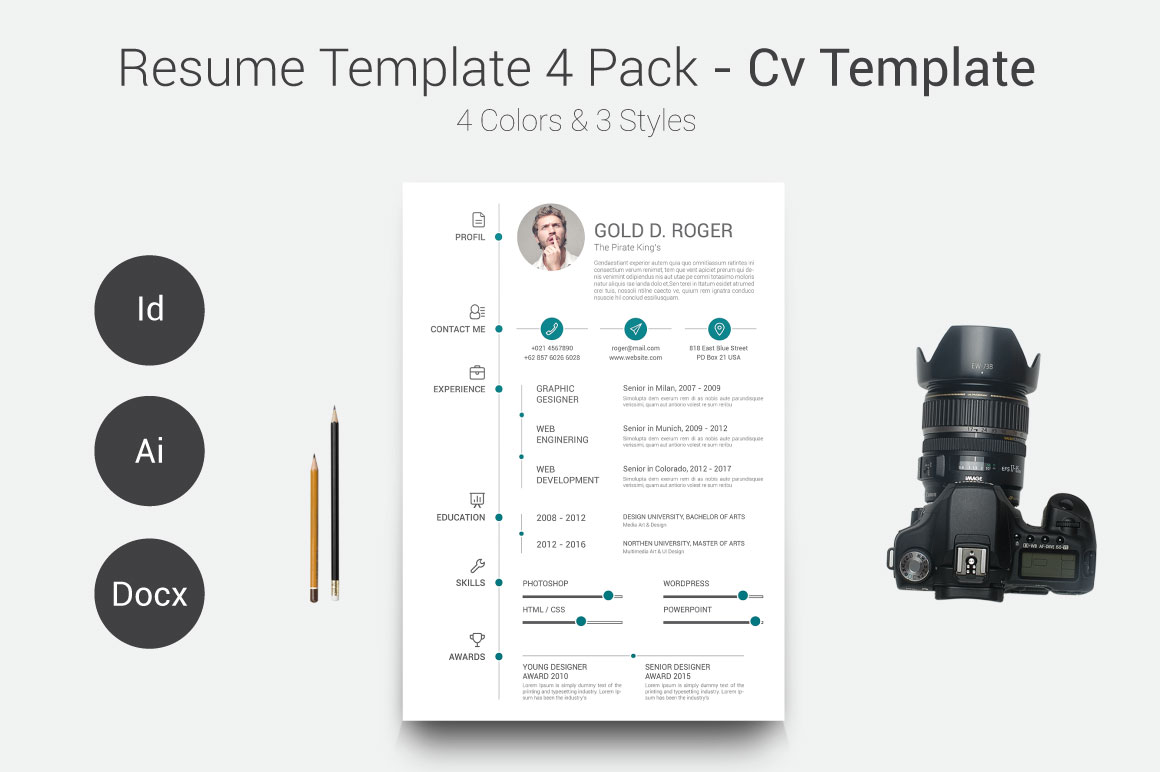 resume  cv template 4 pack