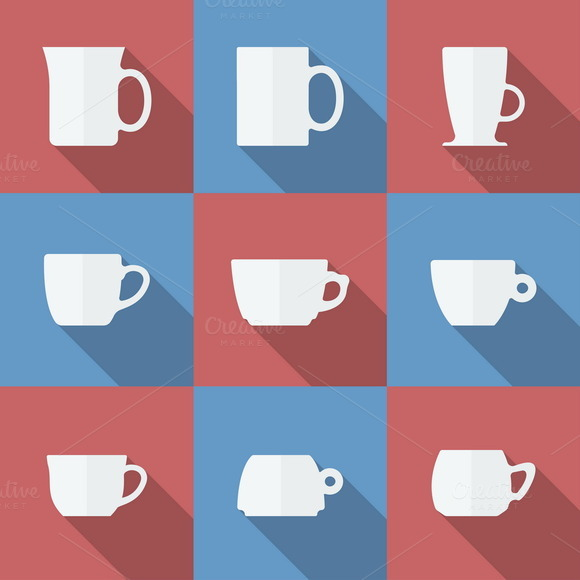 Icon Set of cups. Flat style - Icons