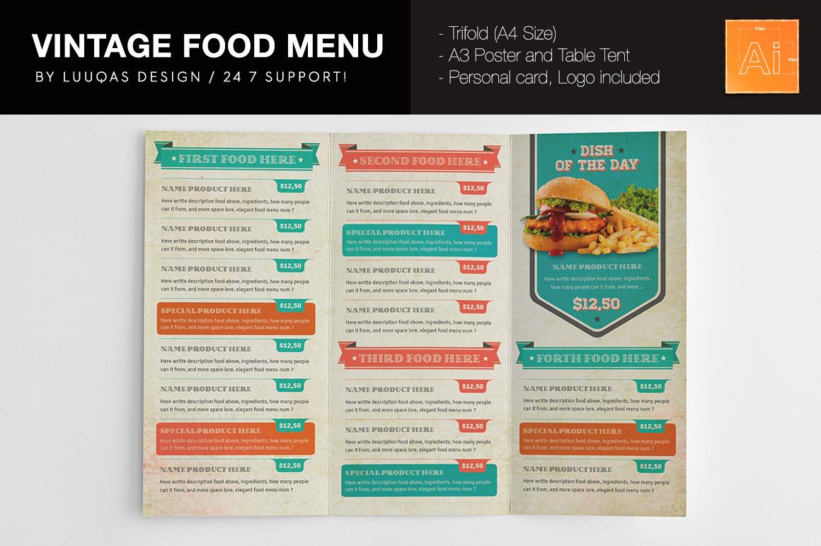 Vintage Food Menu Brochure Templates On Creative Market