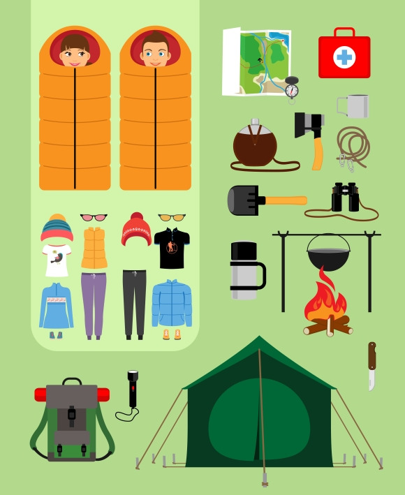 Camping concept. Boy and girl - Graphics