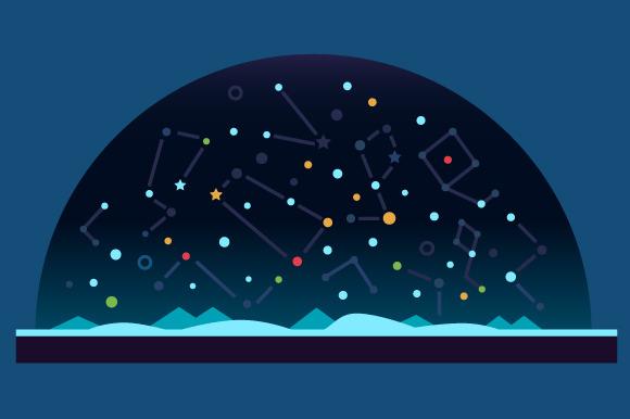 Starry sky. Stars, shooting star. - Illustrations