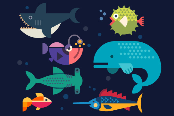 Sea life. Big fish: whale, shark, sw - Illustrations