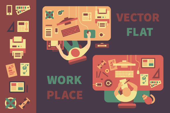 Workplace. Business, design. - Illustrations
