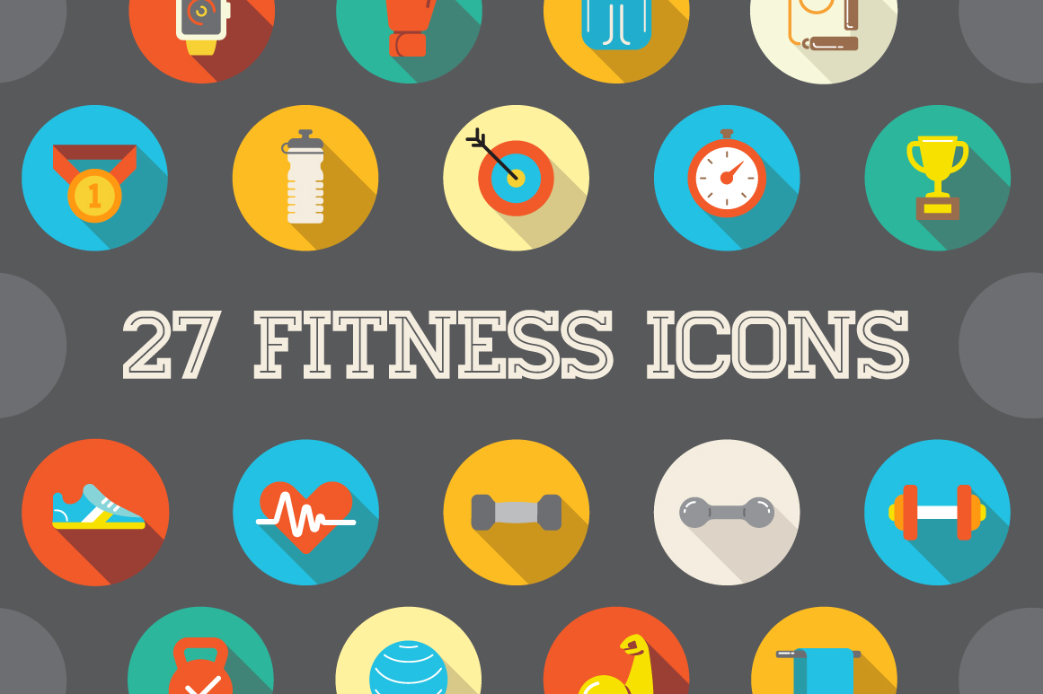 awesome 27 flat vector fitness icons