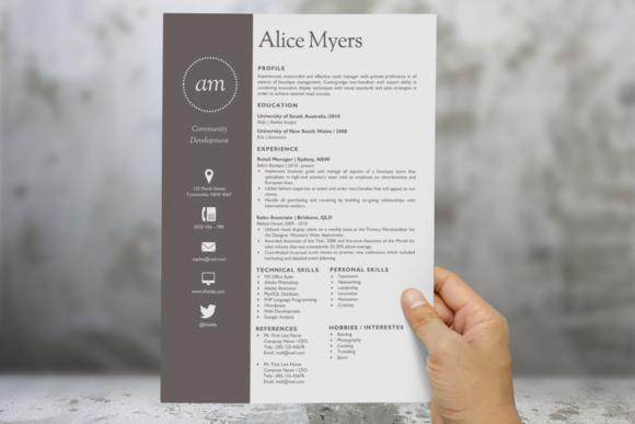 dot round initials word resume