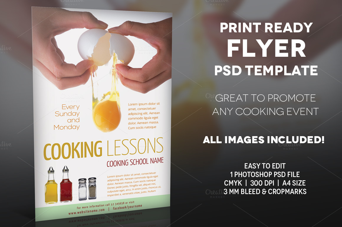 cooking lessons 2 a4 flyer template flyer templates on. Black Bedroom Furniture Sets. Home Design Ideas