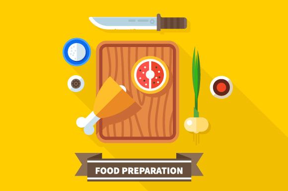 Food preparation. Knife, meat,onions - Illustrations