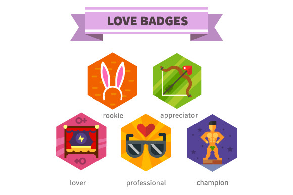 Love badges.He and she - Icons