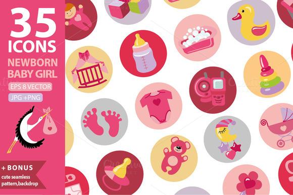 Newborn baby icons.Girl set 1 - Icons