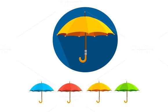 Vector colorful umbrellas set. Flat - Icons