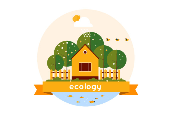 Village landscape. Ecology theme. - Illustrations