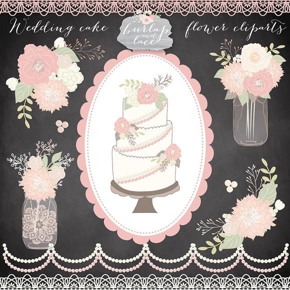 Vector Wedding Cake Flower Cliparts