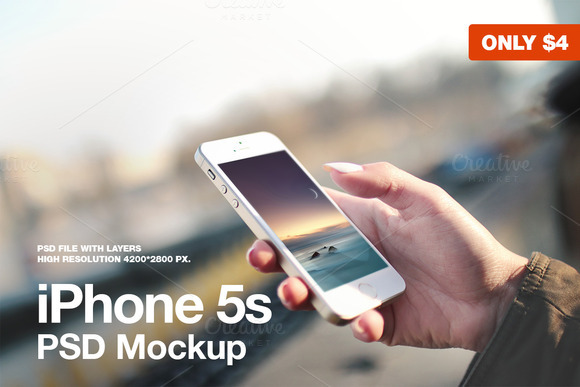 iPhone 5s in hand PSD Mockup ~ Product Mockups on Creative ...