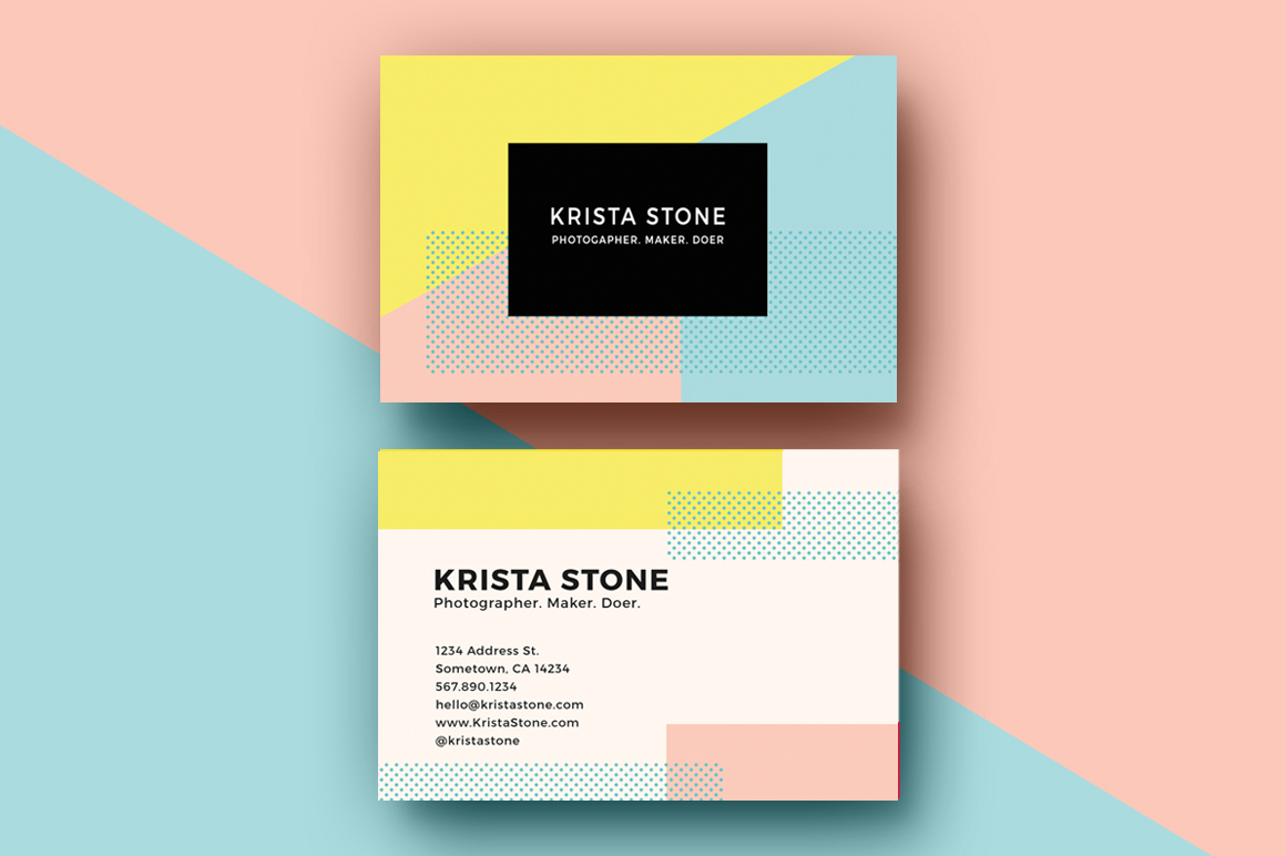 Geo shapes business cards template business card for Busness card template