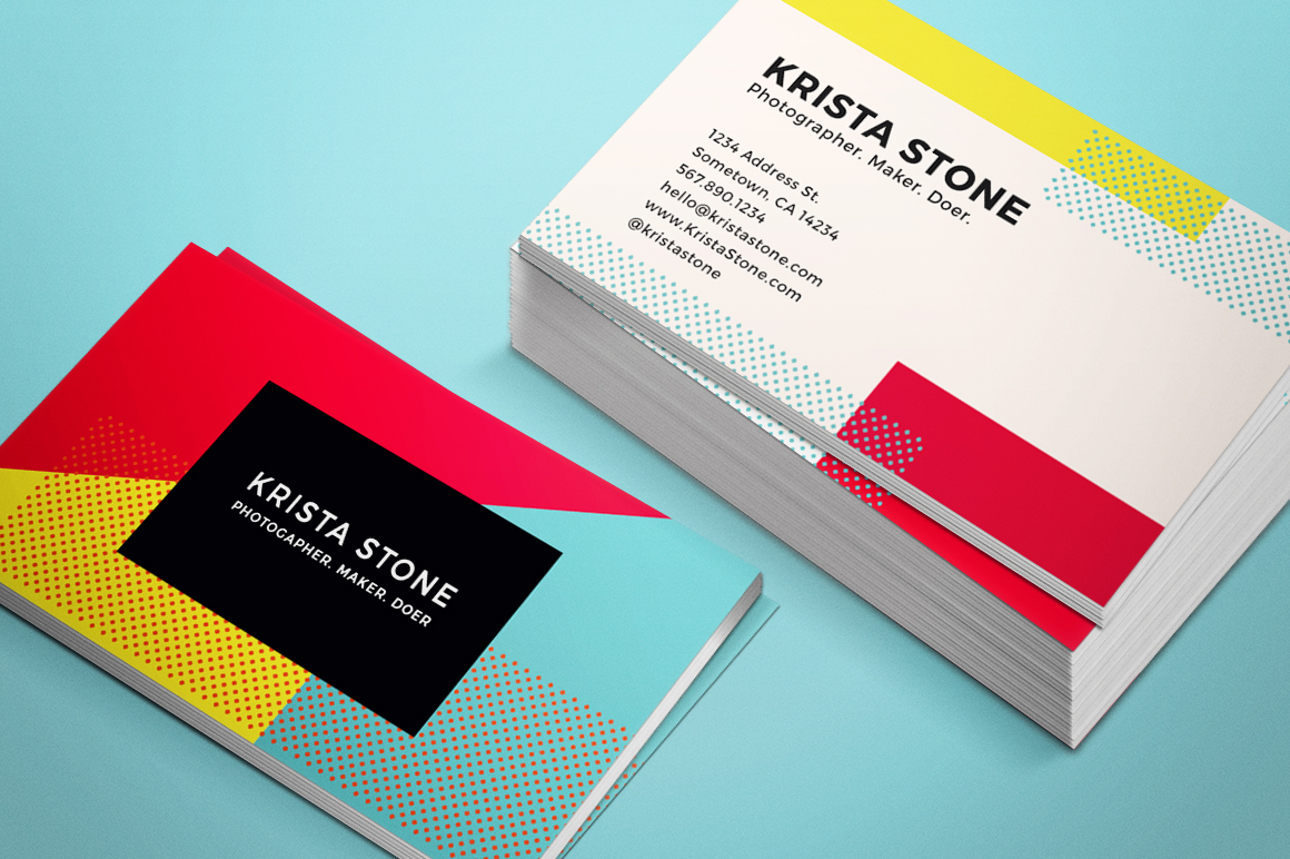 Geo shapes business cards template business card for Business cards shapes