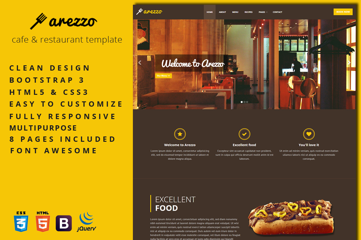 Bootstrap Food Restaurant Website Template Free Download in