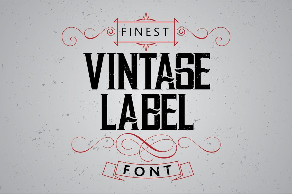 vintage label whiskey style font