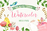 The Happy Easter Mega Pack-Graphicriver中文最全的素材分享平台